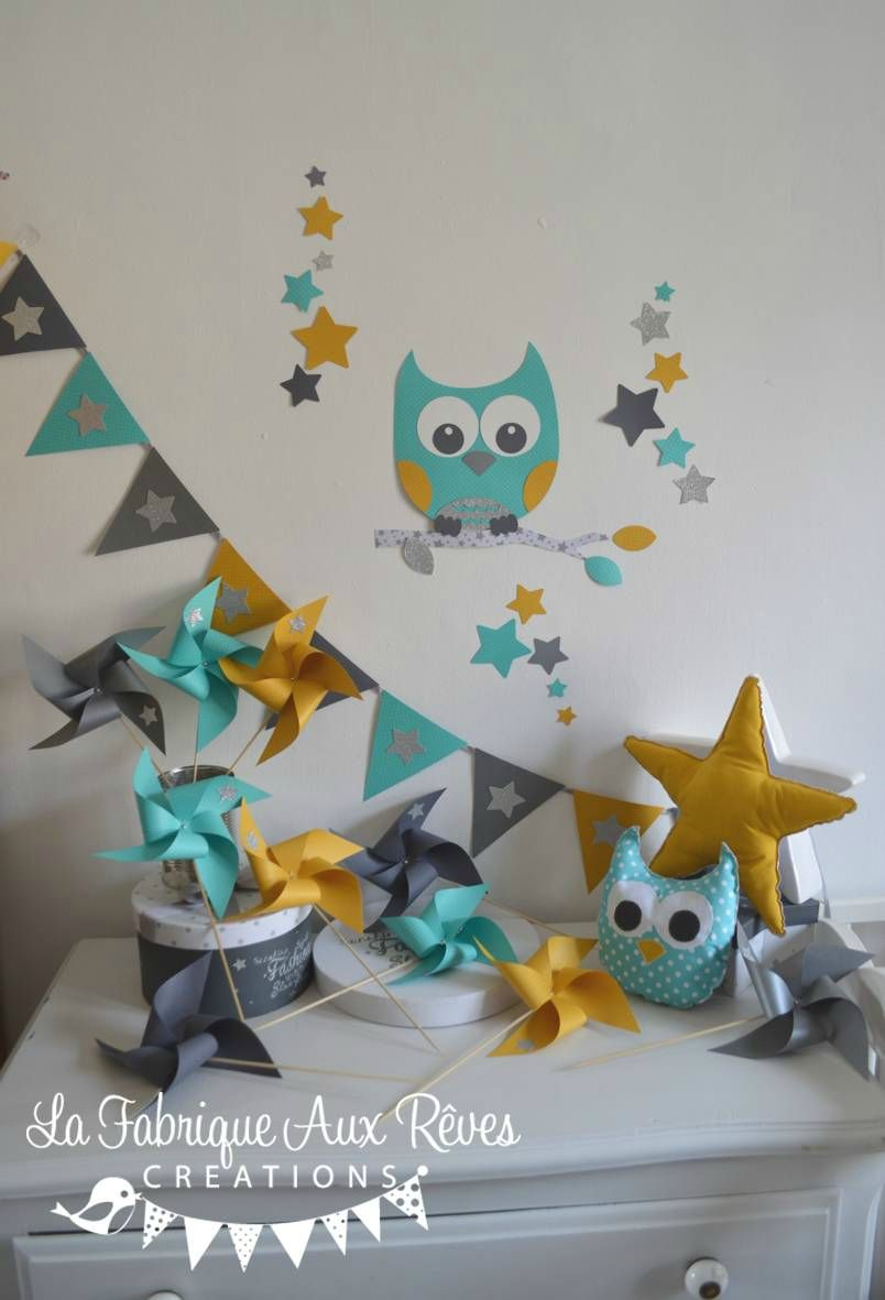 D coration chambre enfant b b hibou toiles turquoise for Decoration murale jaune moutarde