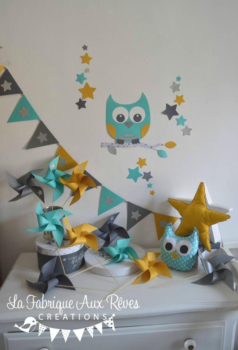 dcoration chambre enfant bb hibou toiles turquoise carabe jaune moutarde gris argent