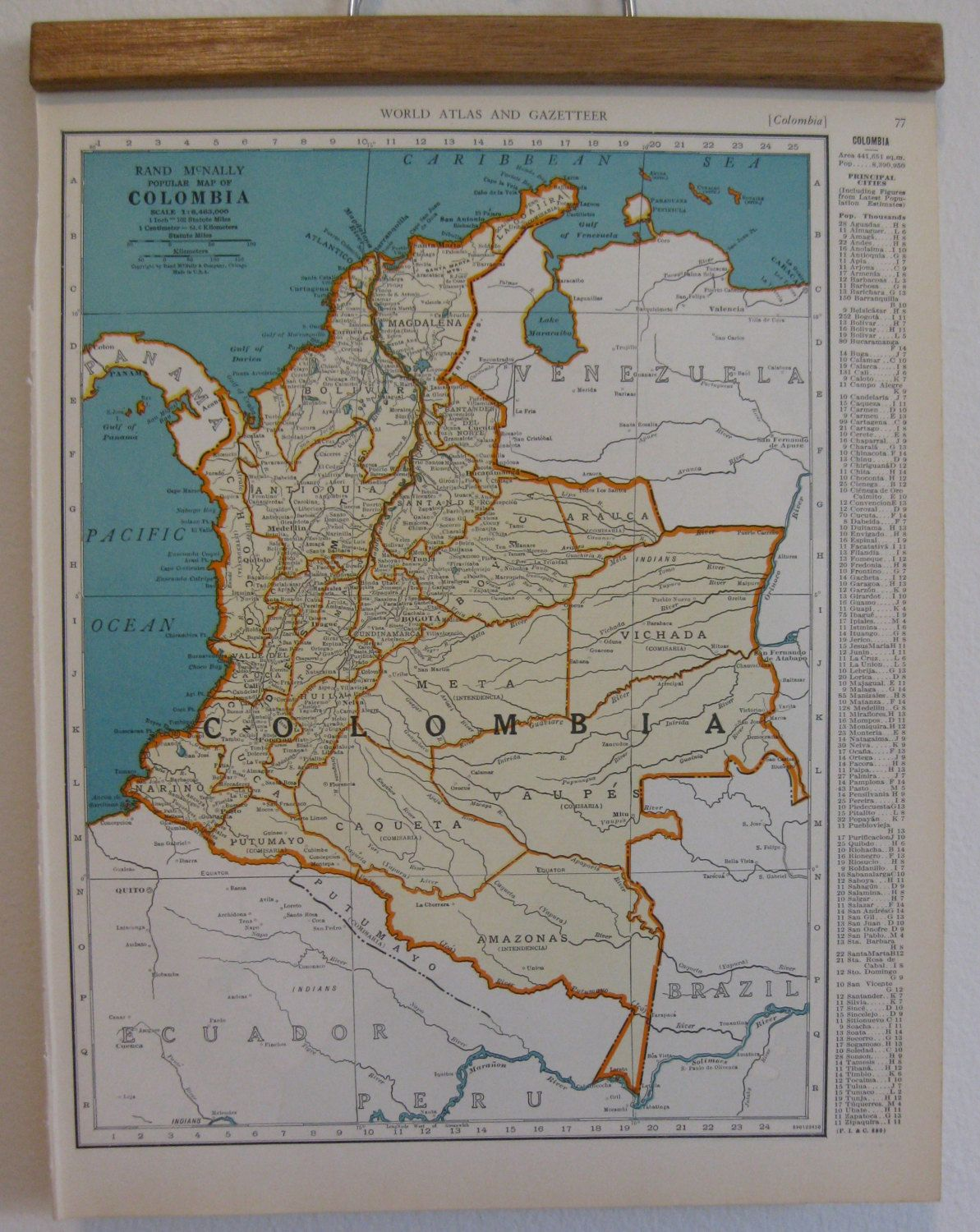 Old map of columbia from the 1940s old maps pinterest old map of columbia brazil peru and ecuador from the colliers world atlas and gazetteer of 1940 gumiabroncs Gallery