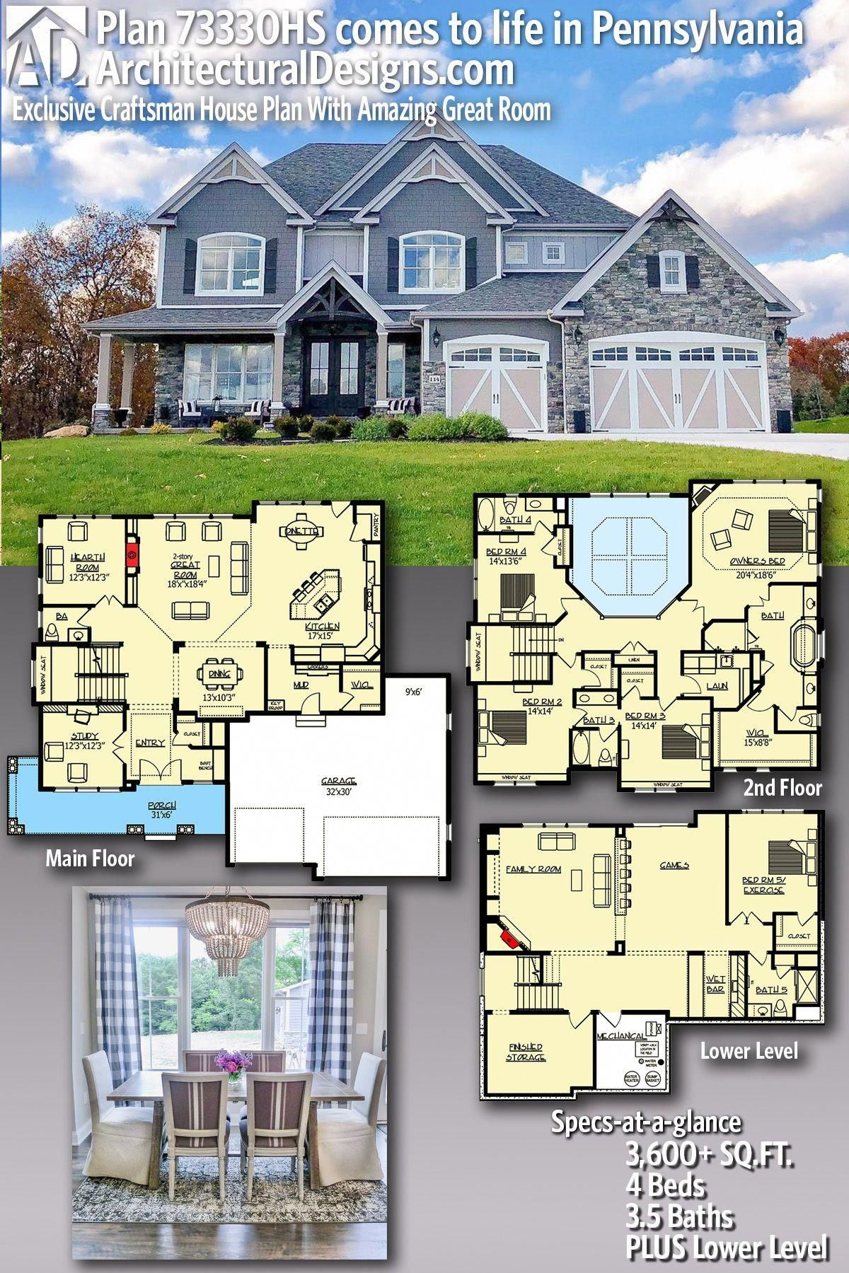 Amazing Houses Dreamhouses Exclusive House Plan Craftsman House Plan House Plans