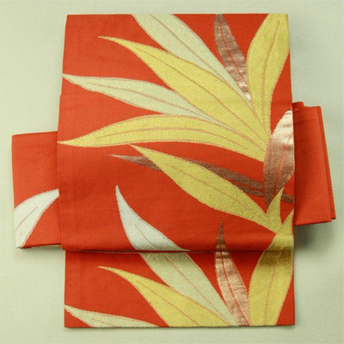 普段使いや着付け練習に錆朱地細い葉柄六通名古屋帯