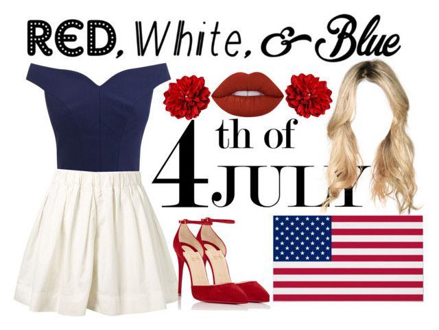 """""""(142)"""" by maria-bss ❤ liked on Polyvore featuring Marc Jacobs, Lime Crime, Christian Louboutin, redwhiteandblue and july4th"""