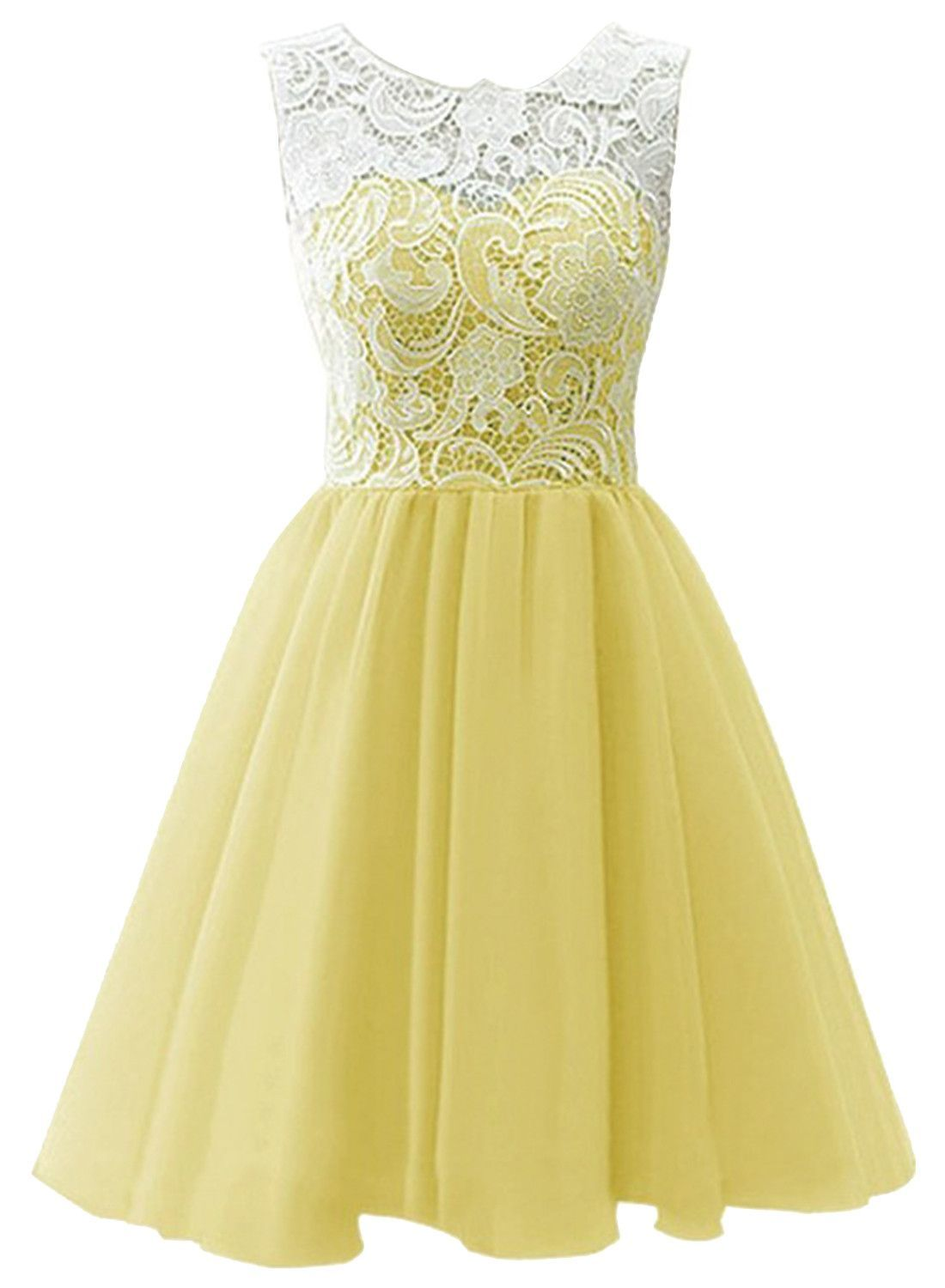 Cocktail dress wedding  PreOrder Yellow Lacy Paneled Homecoming Dress  Homecoming dresses