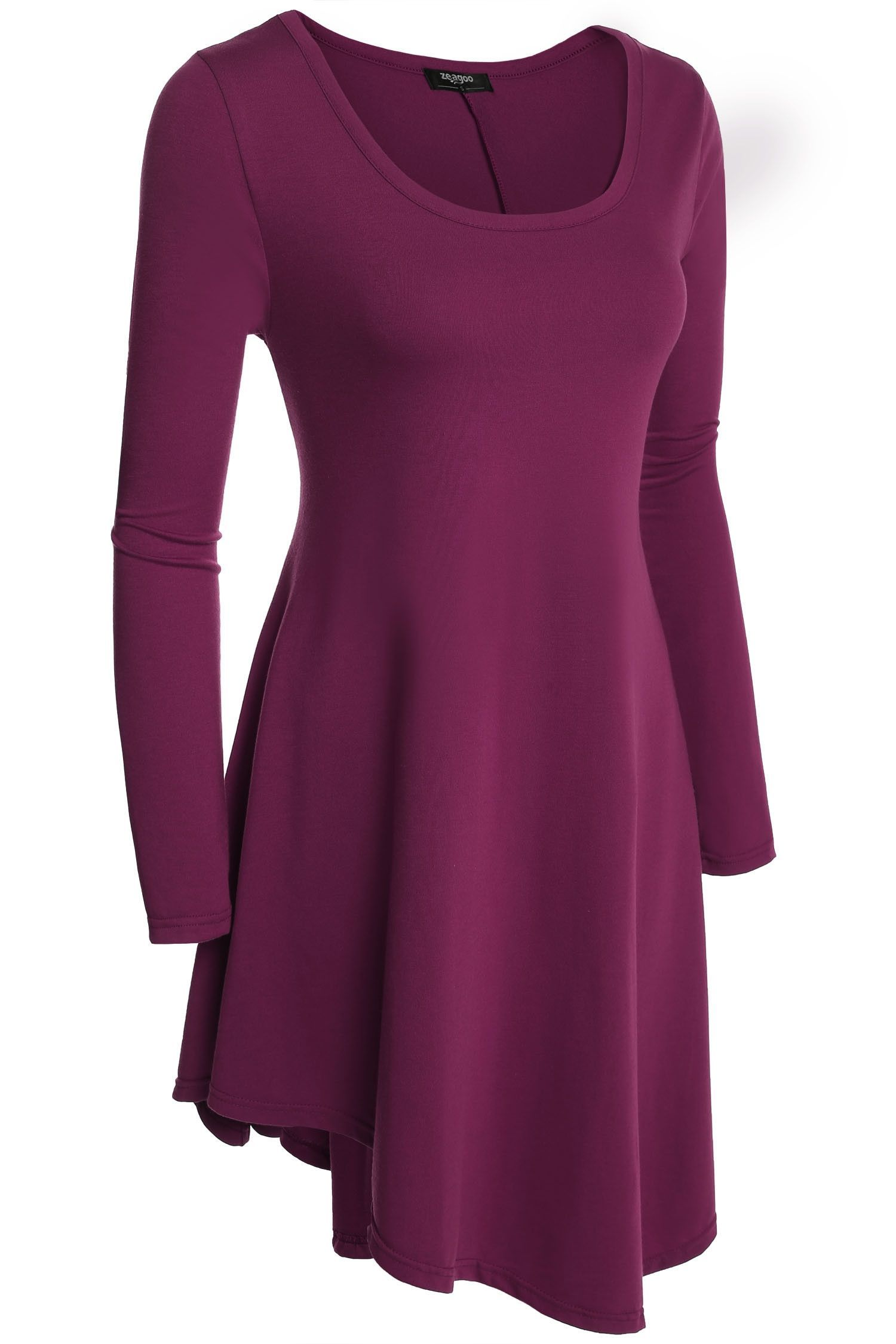 Purple O-neck Long Sleeve Loose Irregular Mini Casual Dress