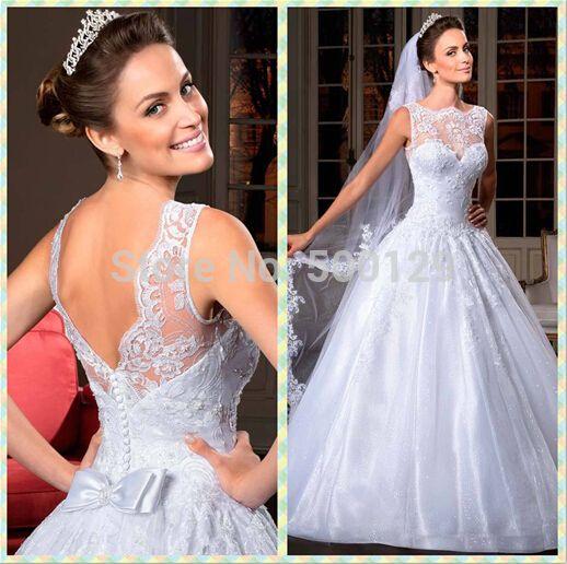 Barato 2015 Beading vestidos de casamento Sheer tripulação pescoço aberto para trás uma linha de trem capela 2014 vestidos de noiva Vestido de Novia, Compro Qualidade Vestidos de noiva diretamente de fornecedores da China:               Vestido de noiva           Vestido de noite                                              Vestido de baile