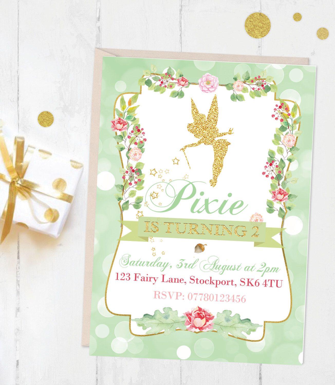 Girls Tinkerbell Fairy Invite | Birthday Party Invitation | Woodland ...