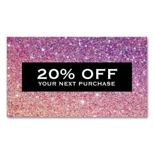 MODERN BRONZE-PURPLE OMBRE GLITTER Coupon Card Business cards - coupons design templates