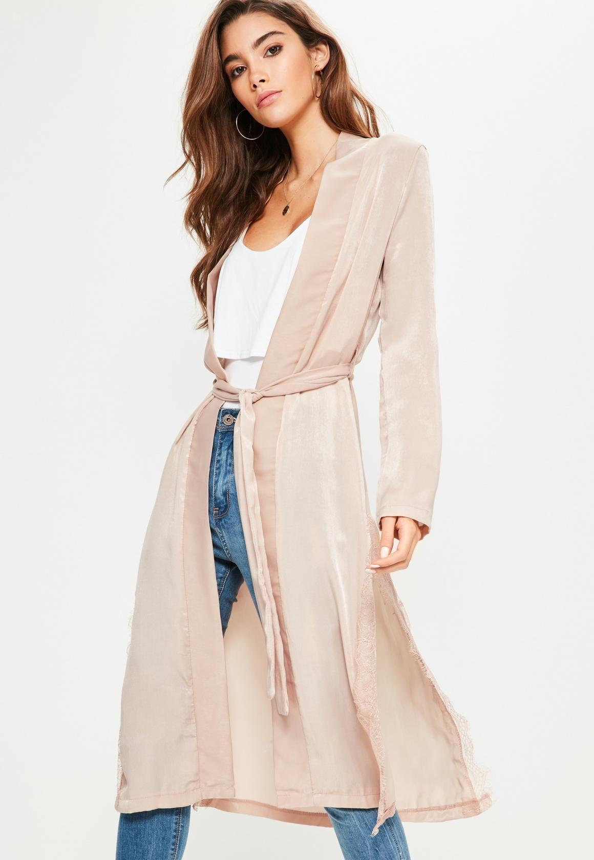 Missguided - Pink Satin Lace Applique Side Kimono Jacket | Fashion ...