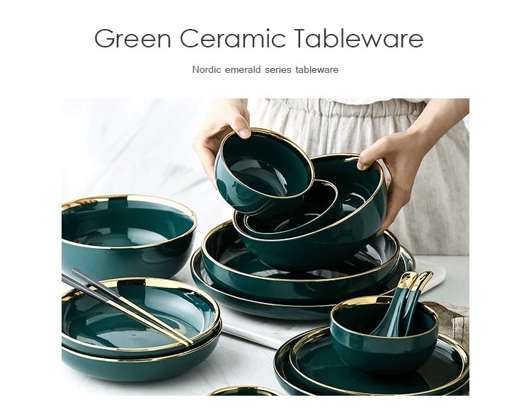 Green Ceramic Gold Inlay Plate Steak Food Plate Nordic Style Tableware Bowl Ins Dinner Dish High End Porcel Green Ceramics Gold Dinnerware Porcelain Dinnerware