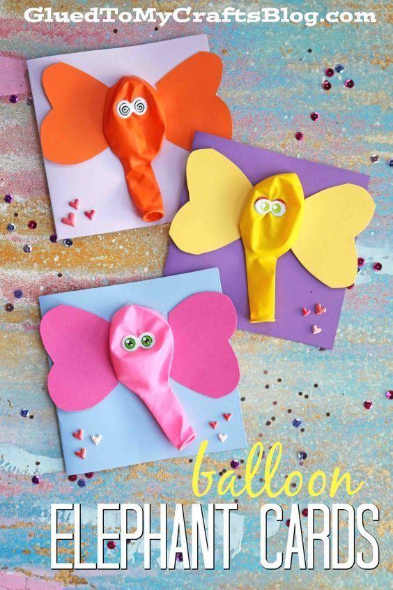 Balloon Elephant Card - Kid Craft #animalcrafts
