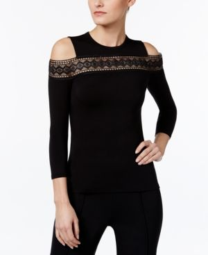Yyigal Lace-Trim Cold-Shoulder Top, a Macy's Exclusive Style  - Black XL