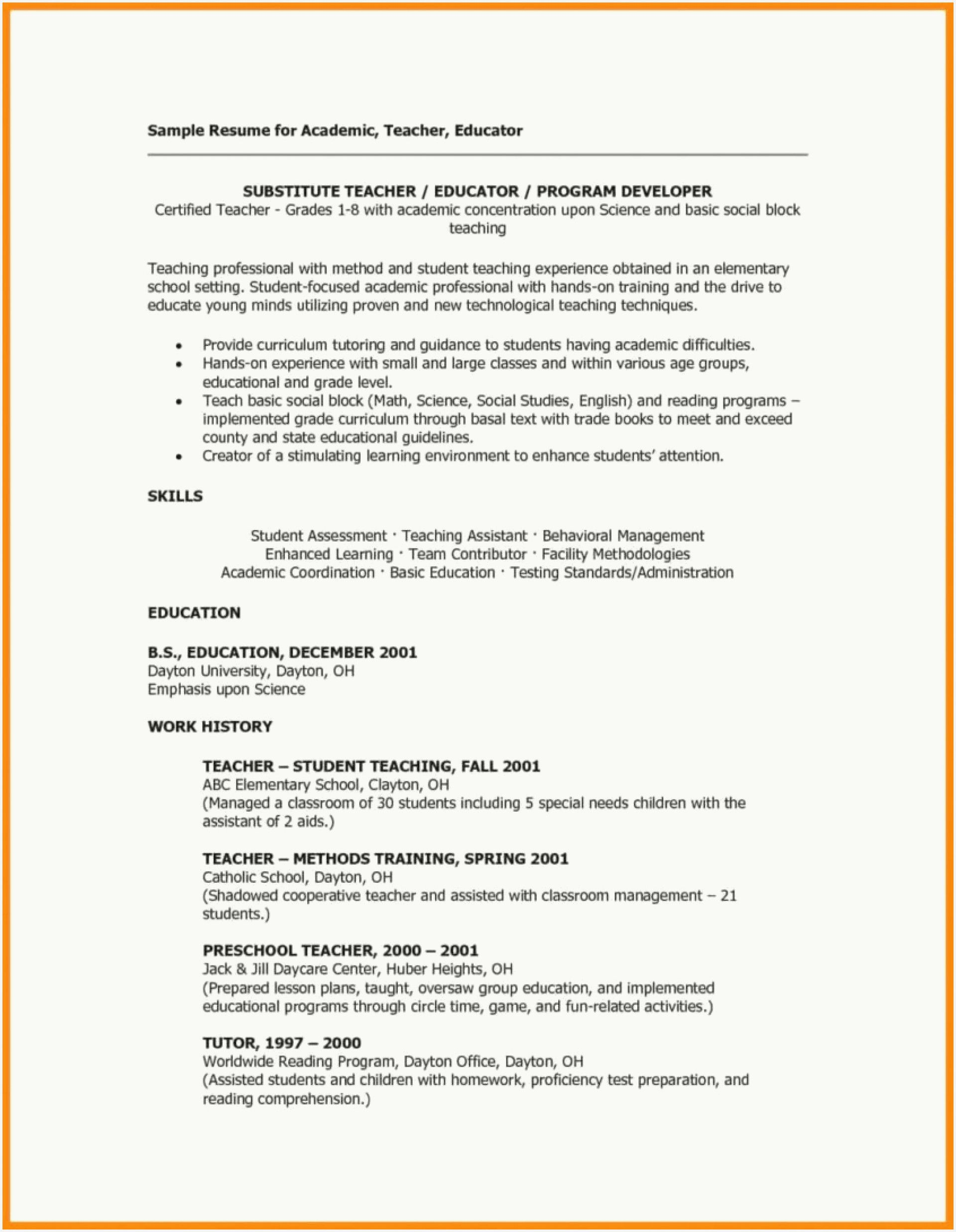 46 New Preschool Teacher Resume Sample Collection In