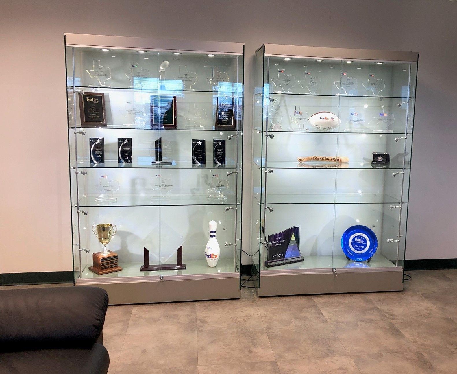 "48"" Display Case w/ LED Lights, Frameless, Sliding Door, Ships Assembled -  Silver in 2021 | Glass cabinets display, Trophy display case, Trophy display"