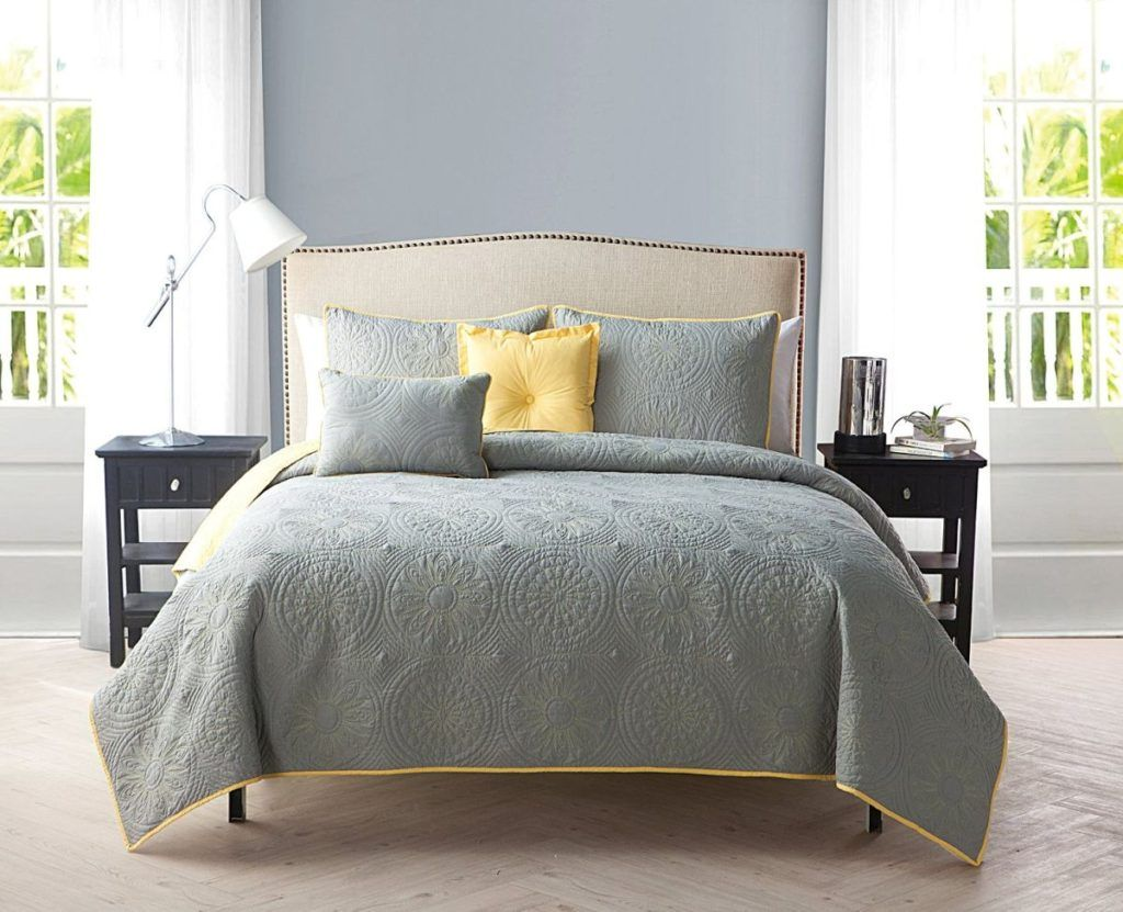yellow and gray bedding that will make your bedroom pop master bedroom ideas yellow bed. Black Bedroom Furniture Sets. Home Design Ideas