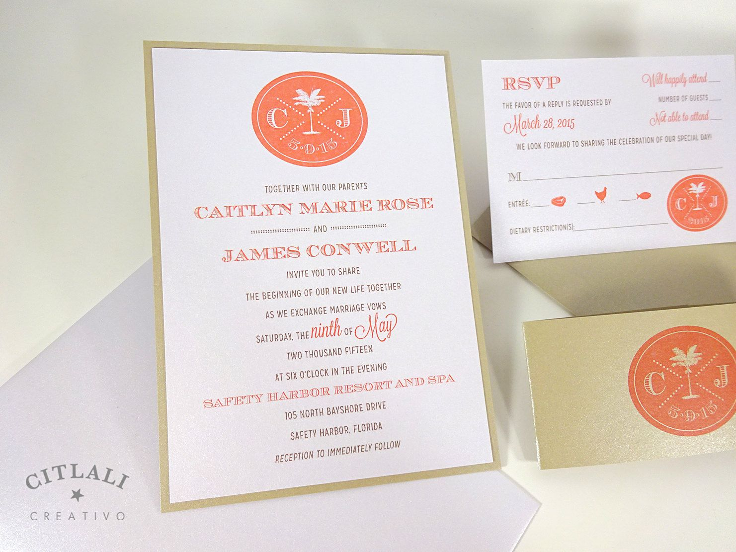 Coral & Sand Modern Palm Resort Monogram Wedding Invitations | Palm ...