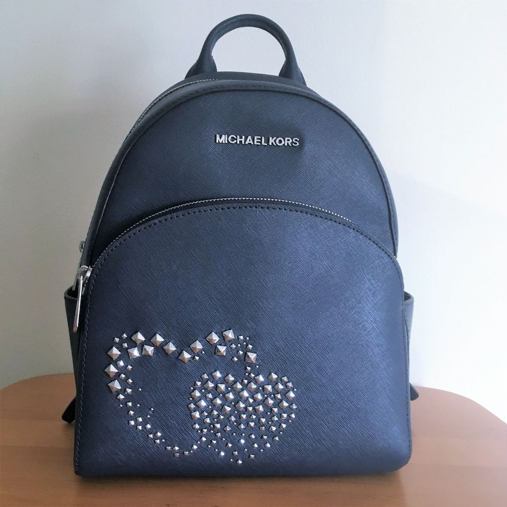 MICHAEL KORS Abbey Medium Backpack Navy Leather Silver Studded Double  Hearts NWT  MichaelKors  BackpackStyle fab2527149877