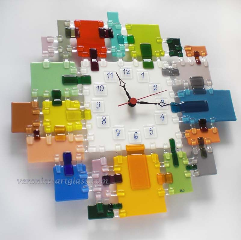 Veronica Art Glass Fused glass wall clock GLASS MOSAIC