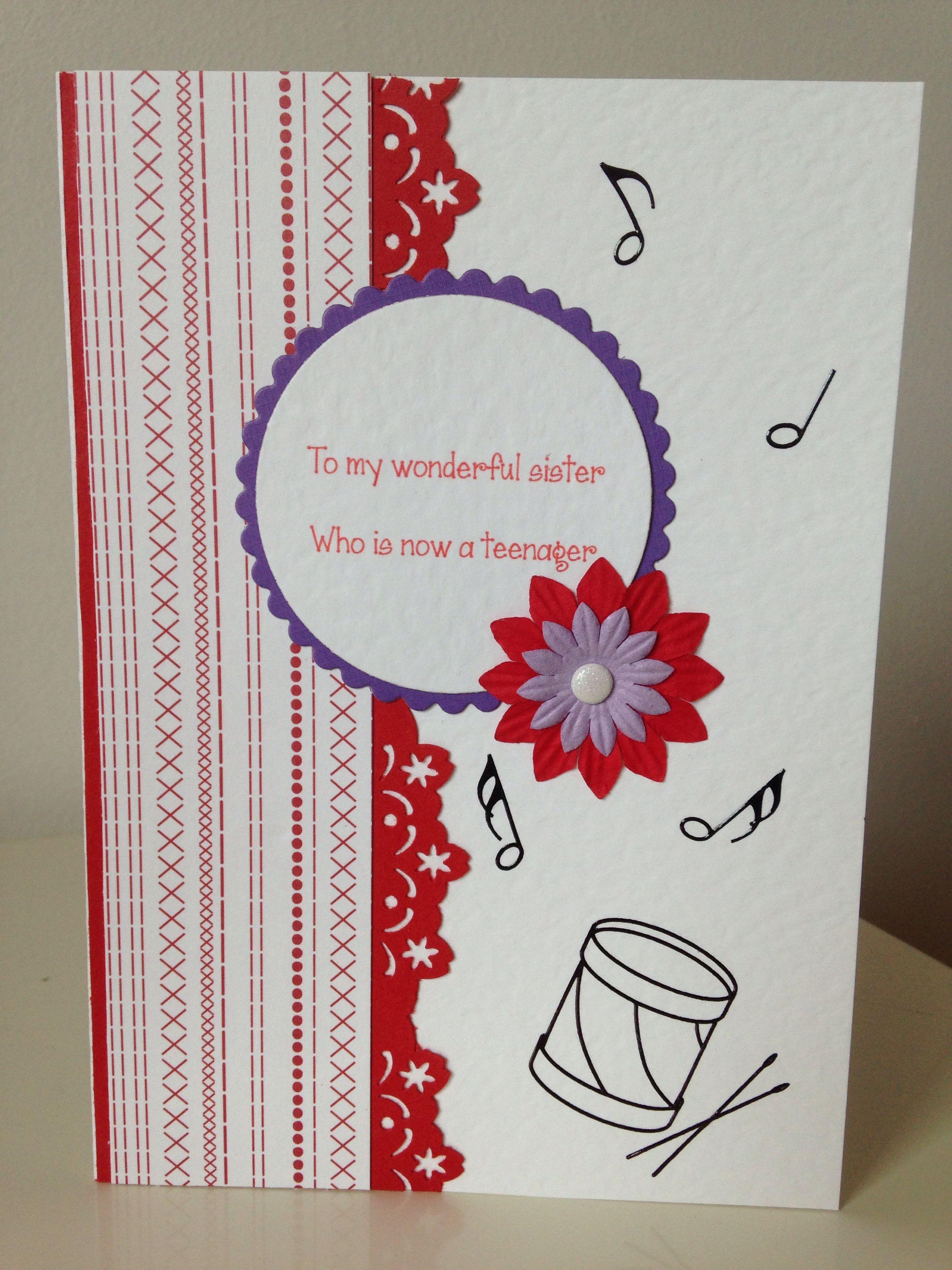 handmade teenage girl birthday card  red  purple