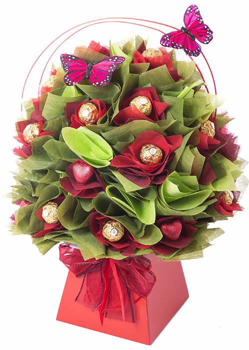 red geranium chocolate bouquet I www.thechocolateflorist.co.uk I ...