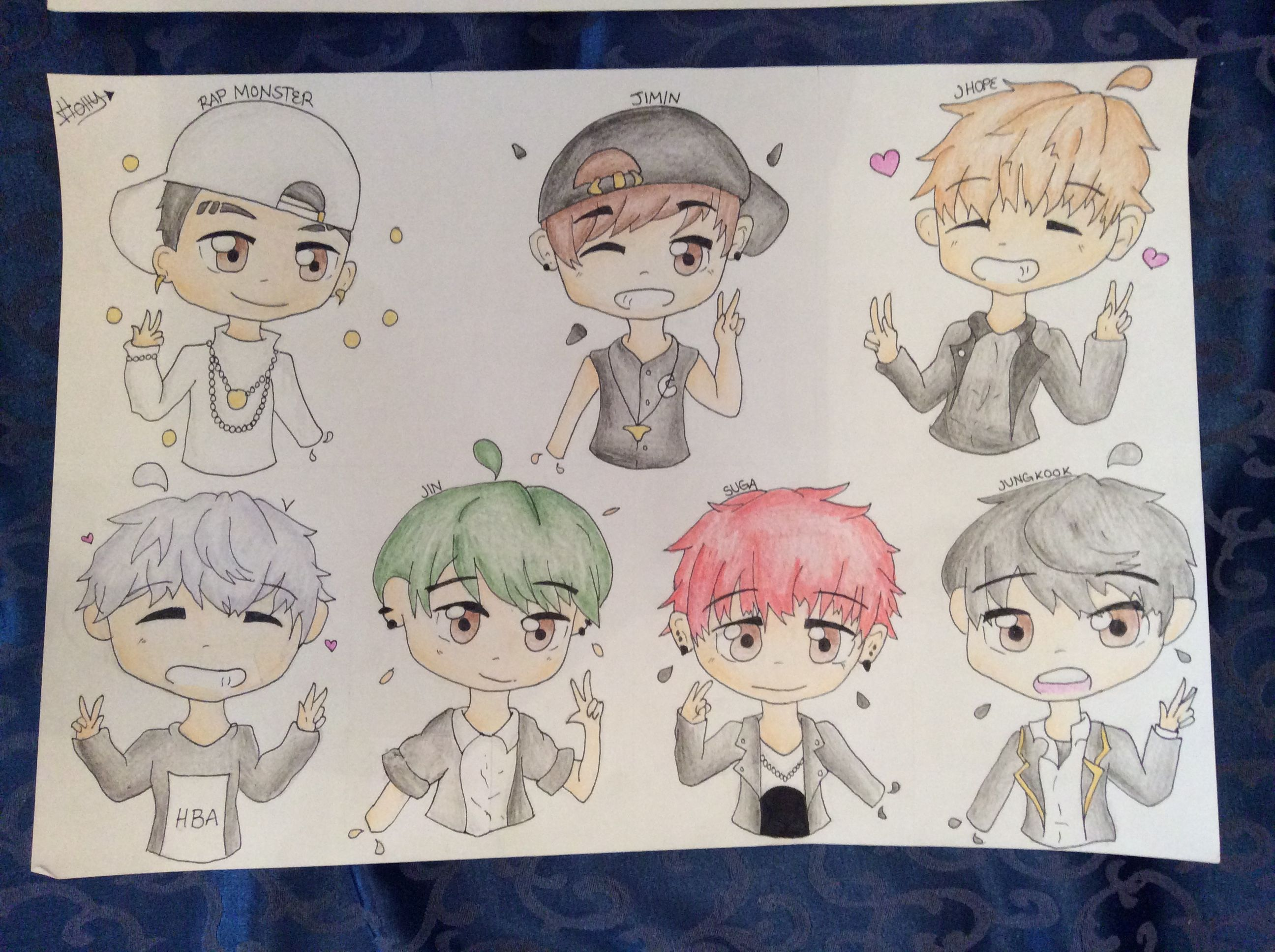 A Chibi Drawing Of A Band Called Bts For A Friend For Christmas