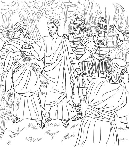 Jesus Arrested In The Garden Of Gethsemane Coloring Page From Good