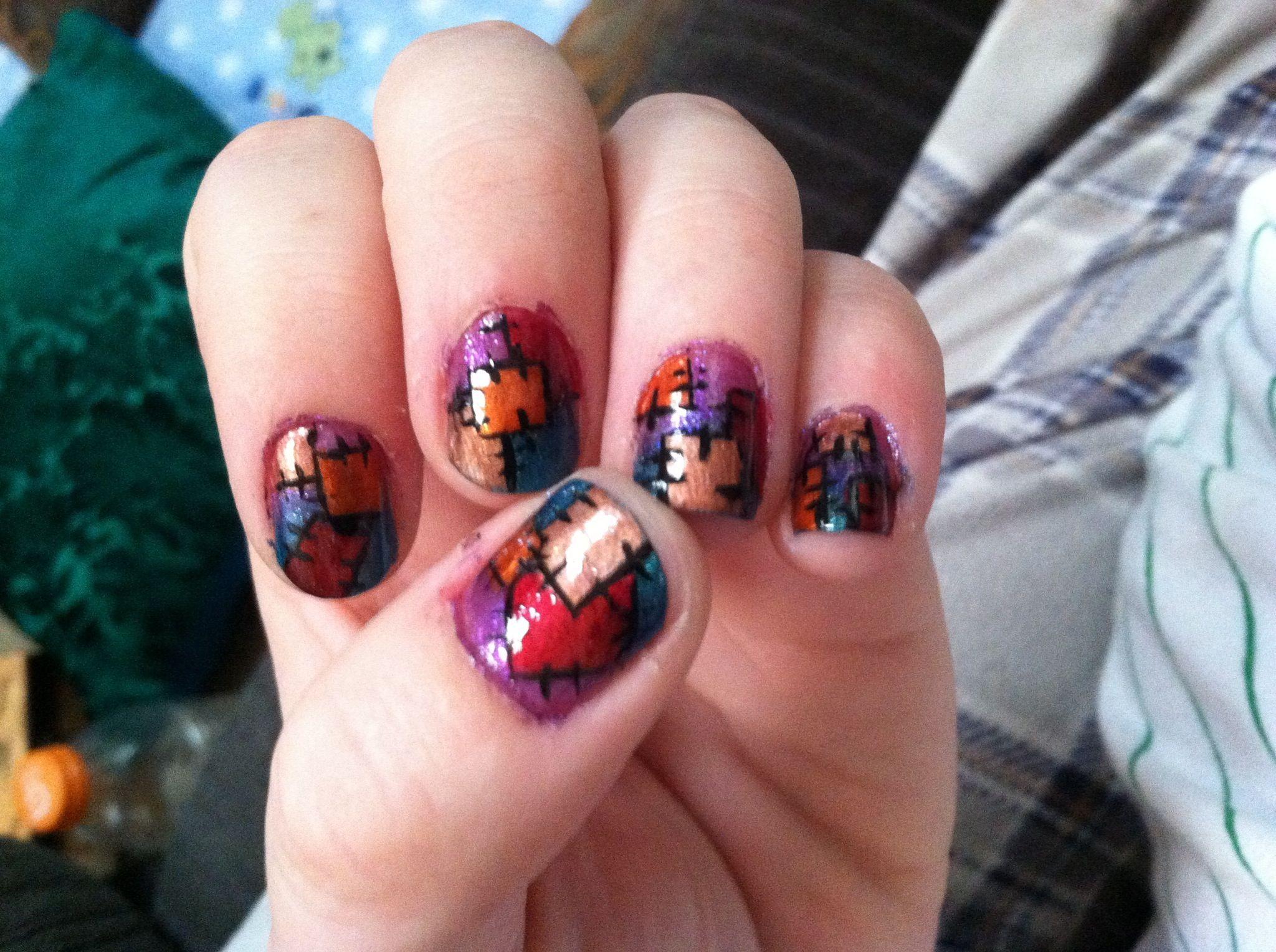 Patchwork quilt nails for autumn