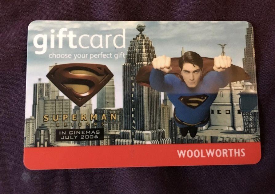Superman Returns Woolworths Gift Card Superman Gift Card Superman Returns