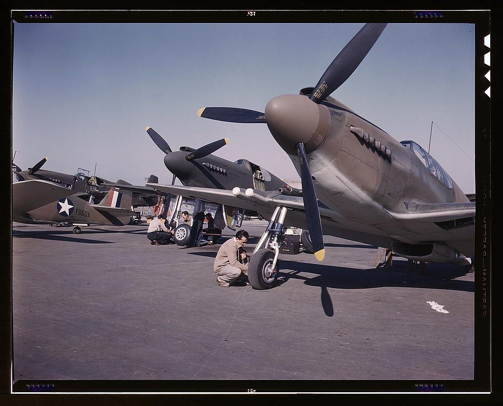 group of P-51 Mustangs, being readied for test flights at North American Aviation, Inc., plant in Inglewood, Calif., 1942