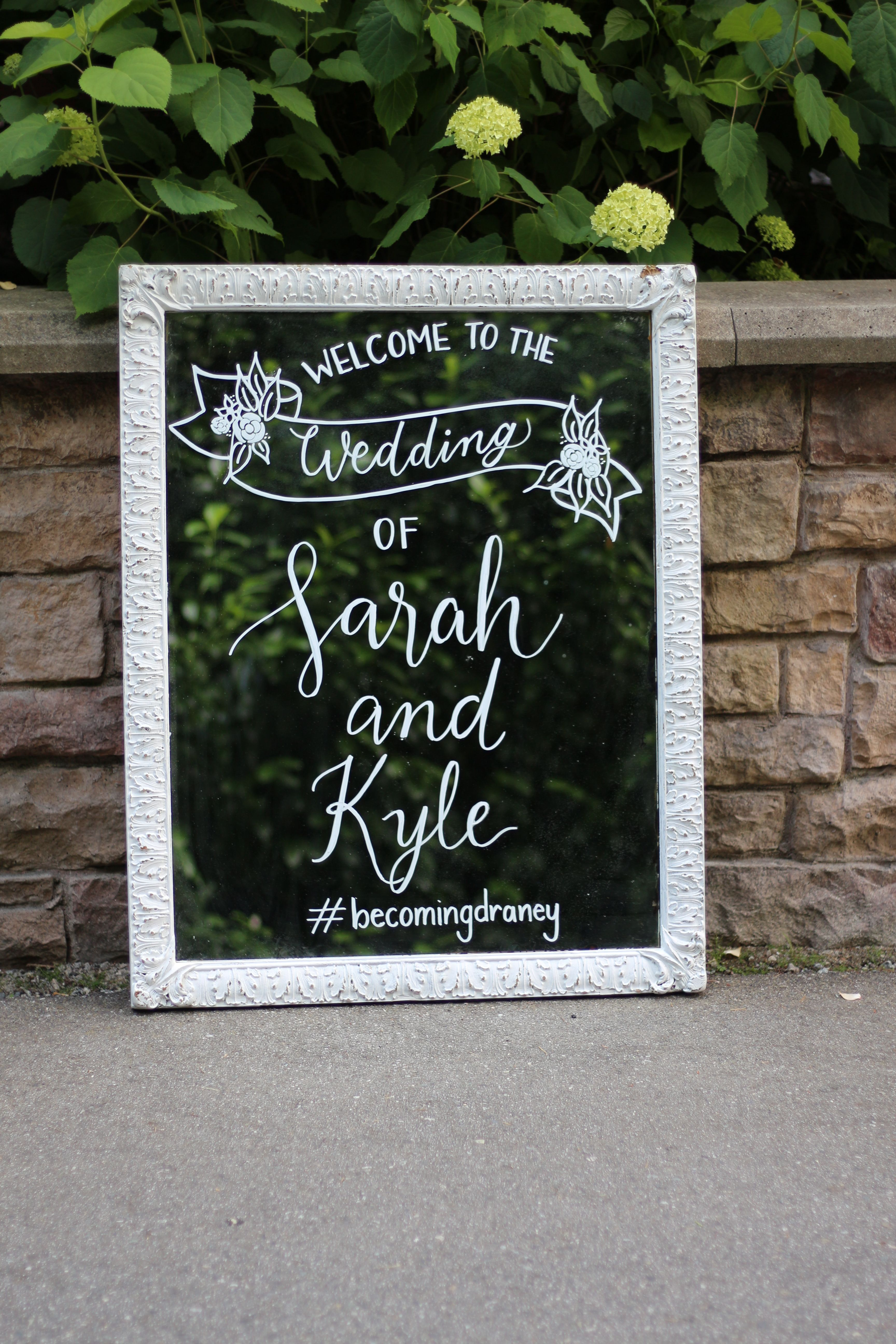 Hand lettered mirror wedding sign hand lettered