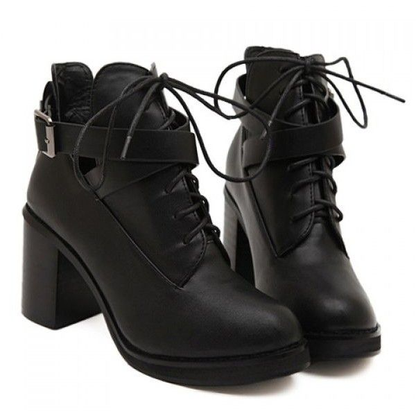 Women'S Boots Short Trendy Buckle And Chunky Heel Black