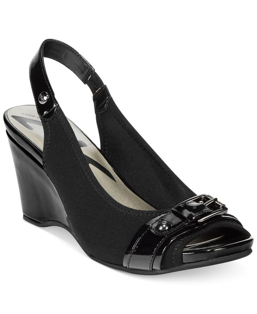 Womens High Heels Anne Klein Perfered Stretch Platform Wedge Sandals Heels Outlet Shop