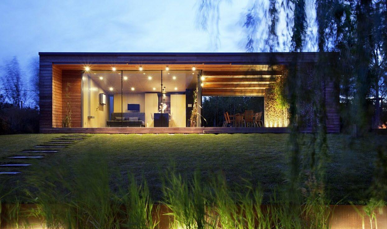 diseo de cabaa construida en madera moderna estructura exterior combinado con materiales de construccin rsticos