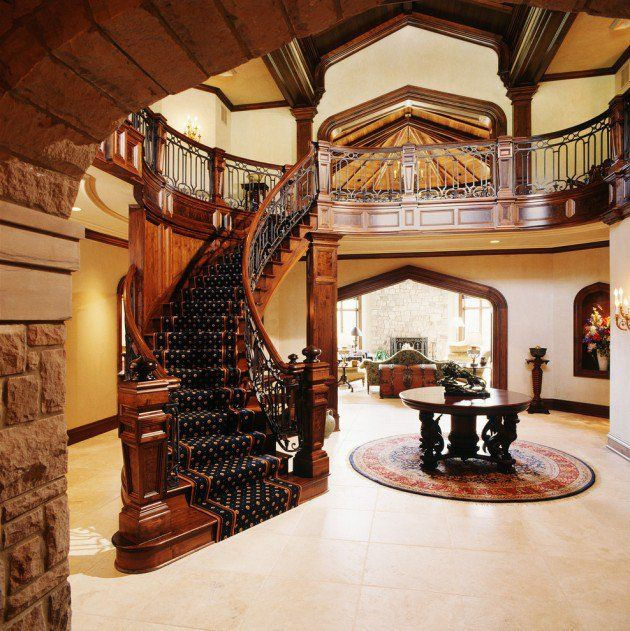 Stunning Staircase And Elevator Design Ideas: 15 Extremely Luxury Entry Hall Designs With Stairs