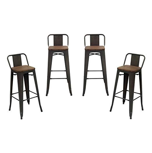 Wondrous Purenity Matte Industrial Wood Top Bar Height Stool With Dailytribune Chair Design For Home Dailytribuneorg