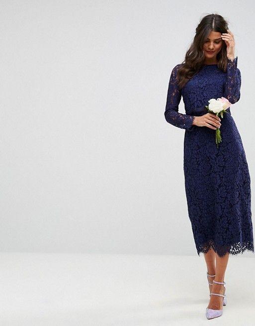 8d9310555c75 ASOS WEDDING Lace Long Sleeve Midi Pencil Dress