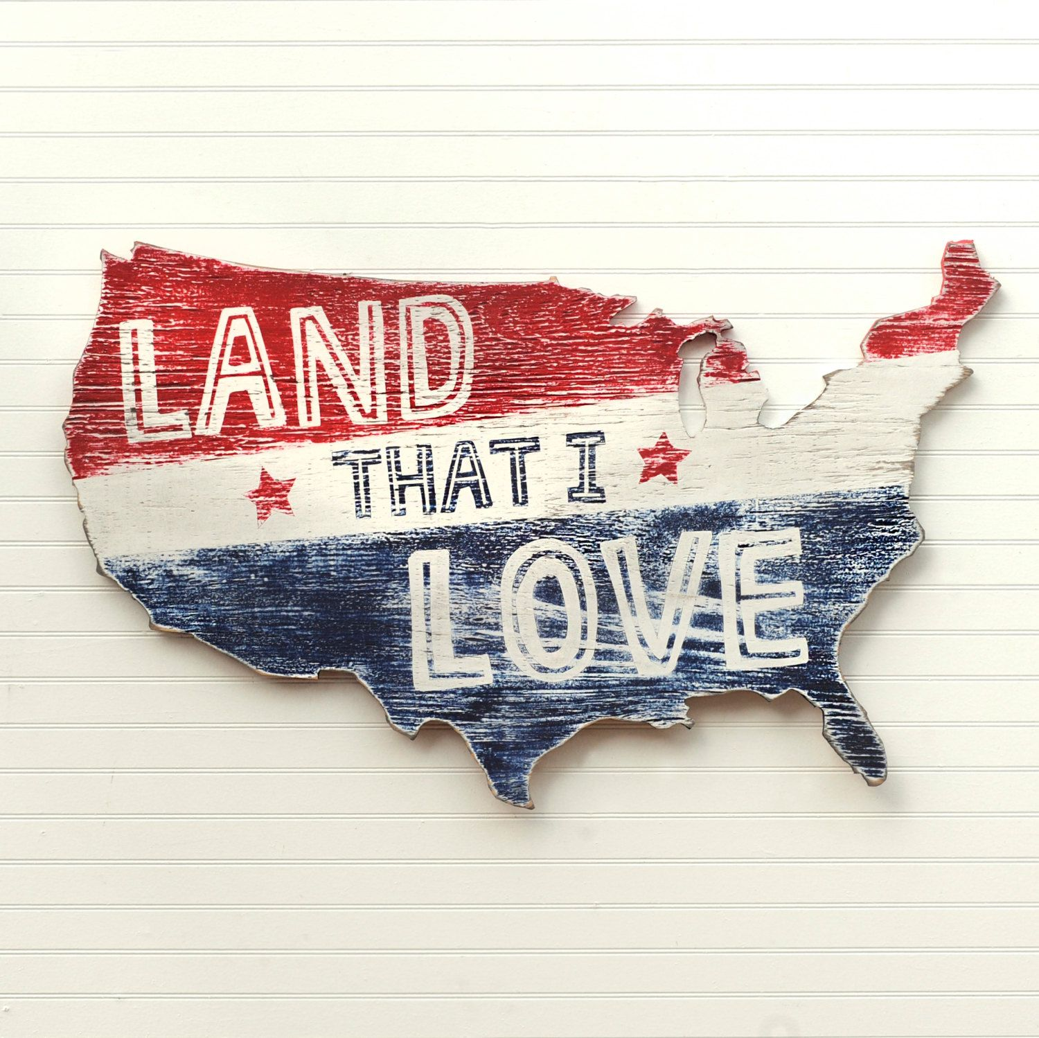 USA Wooden Map Art Large Land That I Love US Map Art Wooden Red - Red and blue us map