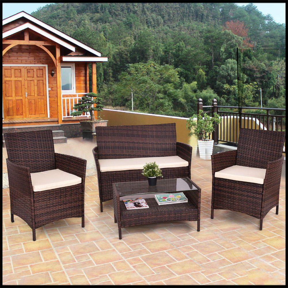 Rattan Patio Garden Furniture 4PCS Wicker Table Shelf Sofa