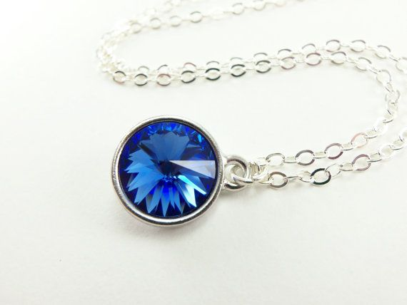 Sterling silver sapphire necklace blue crystal pendant september sapphire blue sterling silver necklace september birthstone jewelry blue crystal necklace sapphire pendant rivoli on etsy 2800 aloadofball Images