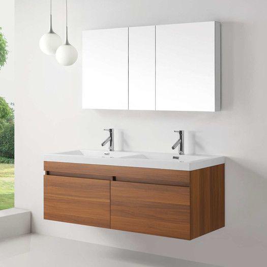 Virtu Zuri 55 Double Floating Bathroom Vanity Set Floating Bathroom Vanities Modern Bathroom Vanity Small Bathroom Vanities