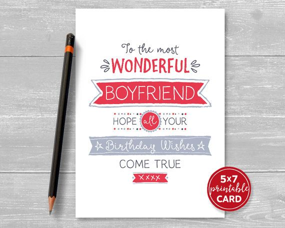 Printable Birthday Card For Boyfriend To The Most Wonderful Etsy In 2020 Birthday Cards For Girlfriend Birthday Cards For Boyfriend Grandma Birthday Card