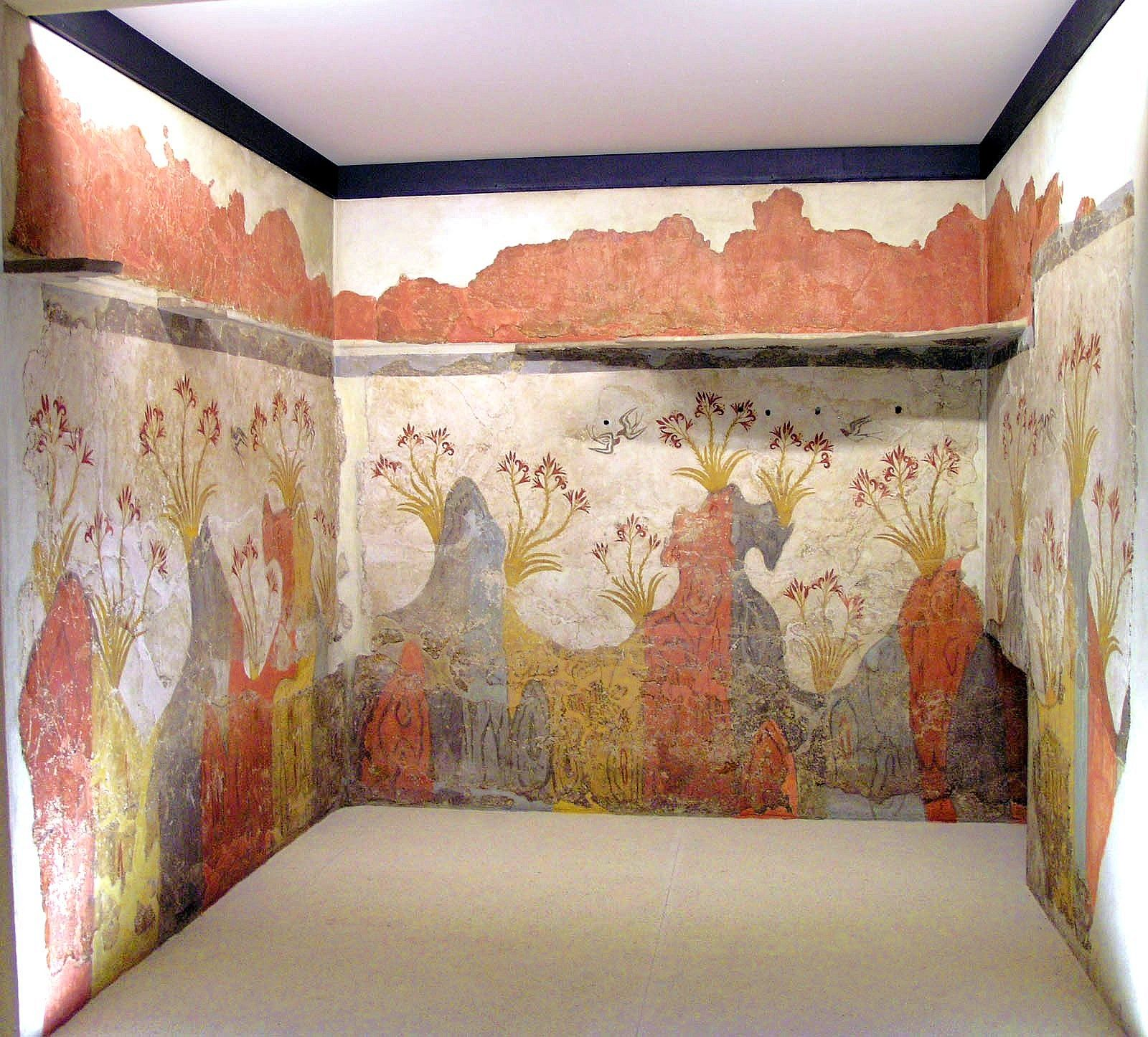 """The almost perfectly preserved mural painting from Akrotiri known as the """"Spring…"""