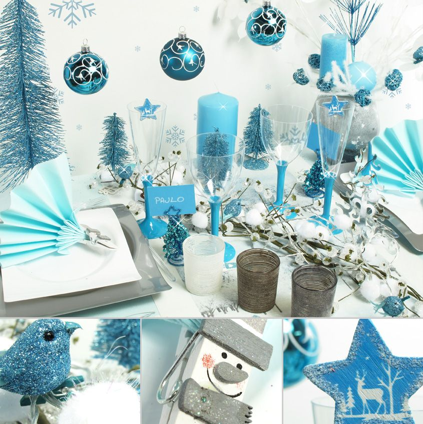 D co de table noel decofete blue for Deco table noel bleu et blanc