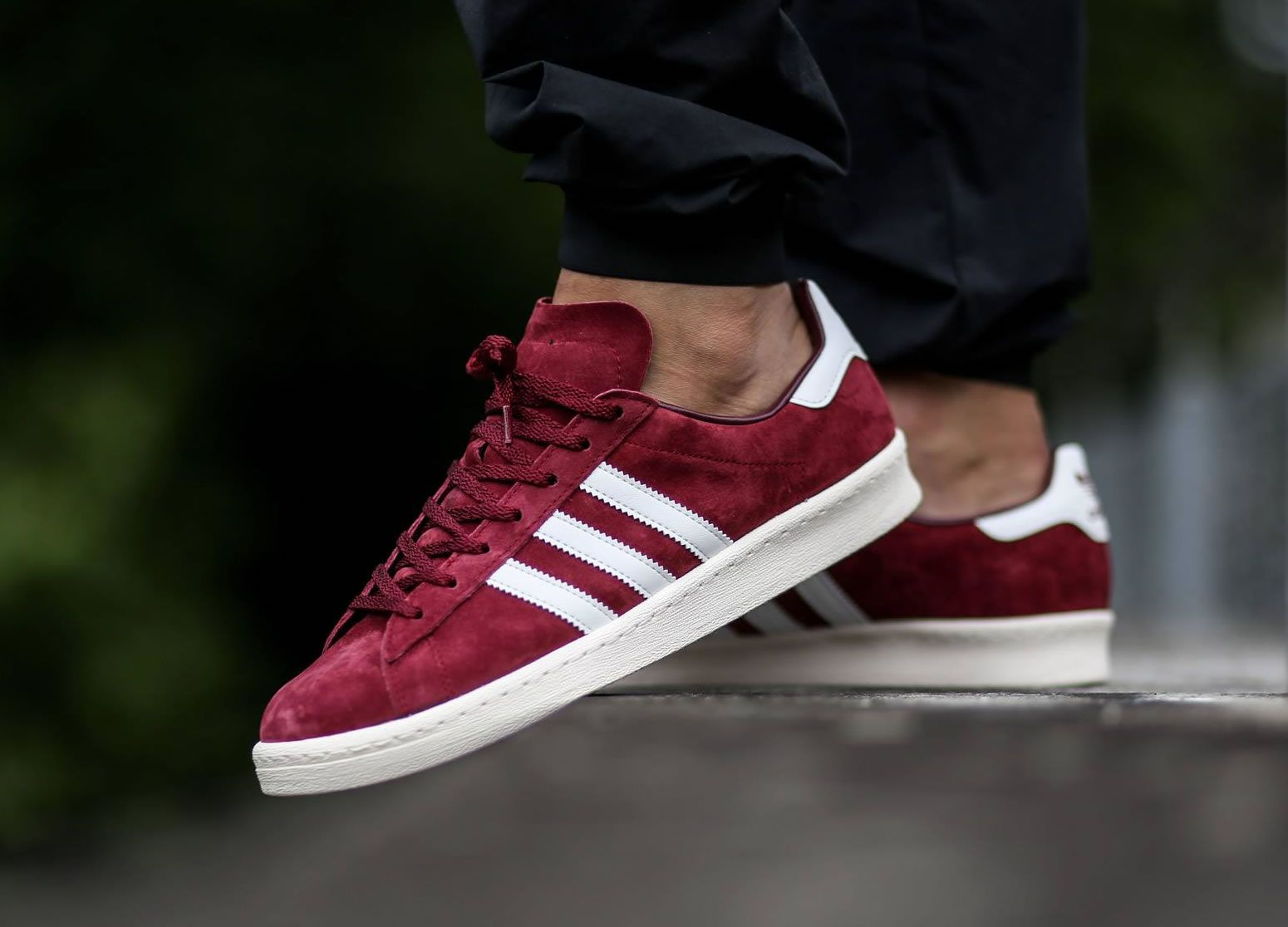 Adidas Menswear - Adidas Originals Campus Trainers Burgundy