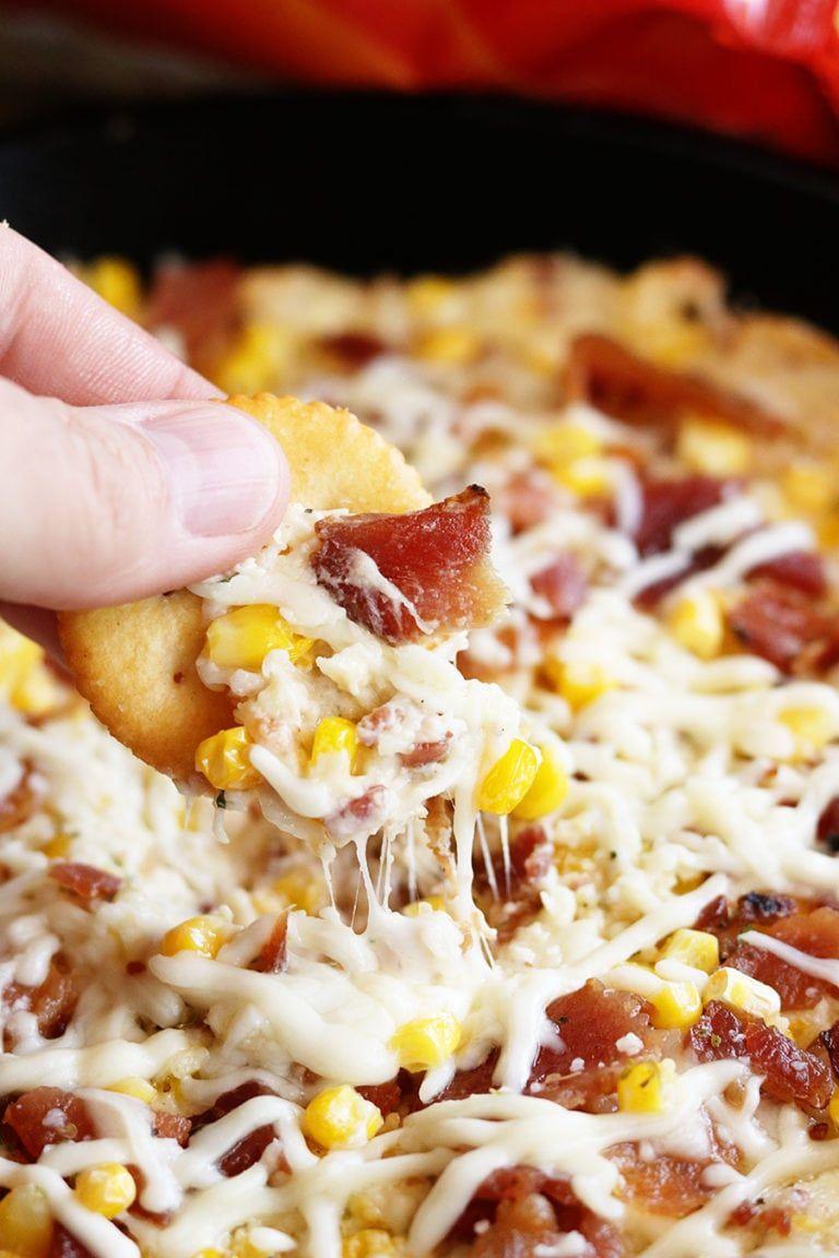 Cheesy bacon corn dip recipe food recipes corn dip