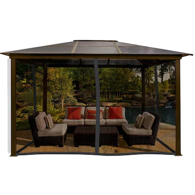 Paragon Outdoor Brown Metal Gazebo 13 2 W X 9 2 H X 9 11 D At Lowes Com Gazebo Outdoor Patio Gazebo