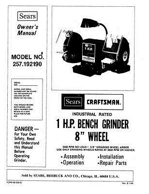 Details about Craftsman 257.192190 1 HP Bench Grinder (8