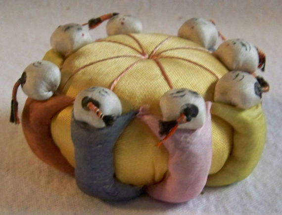 Vintage Silk Pincushion Pin Cushion Sewing Accessory Japan People Holding Hands