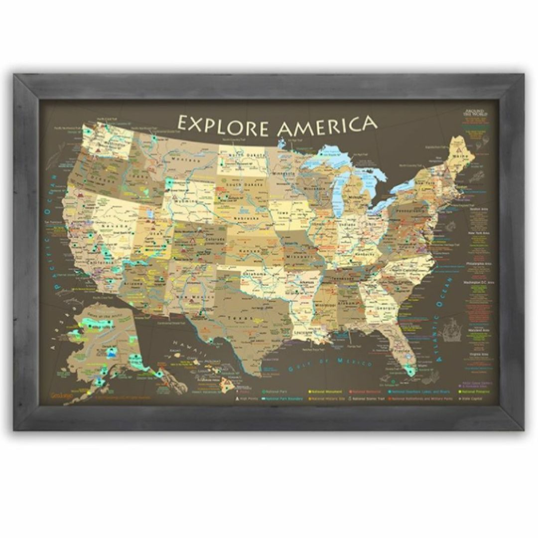 The Explore America USA Map Brown Edition is THE most detailed USA ...