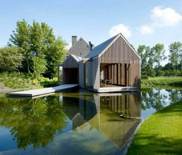 Modern House Build Natural Landscape Pond