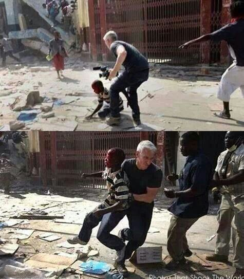 Anderson Cooper forsakes role as reporter and intervenes to save a Haitian boy caught in a crossfire.